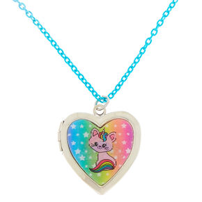 Claire's Club Holographic Heart Locket Necklace,