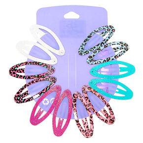 Glitter Leopard Print Oval Snap Hair Clips - 12 Pack,
