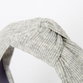 Ribbed Knotted Headband - Light Grey,