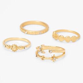 Gold Celestial Embellished Rings - 4 Pack,
