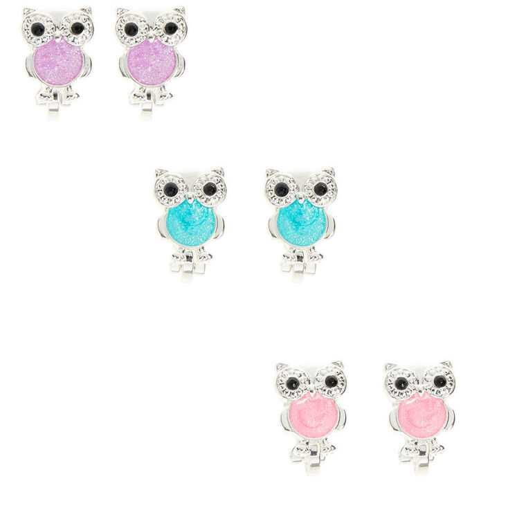 Silver Pastel Owl Clip On Earrings - 3 Pack,