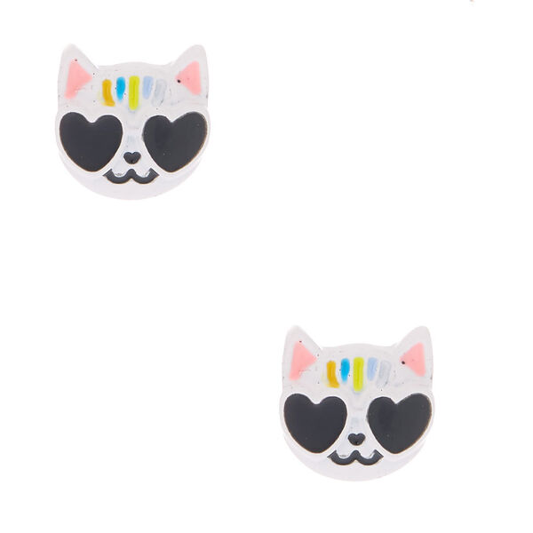 Claire's - cool cat stud earrings - 1