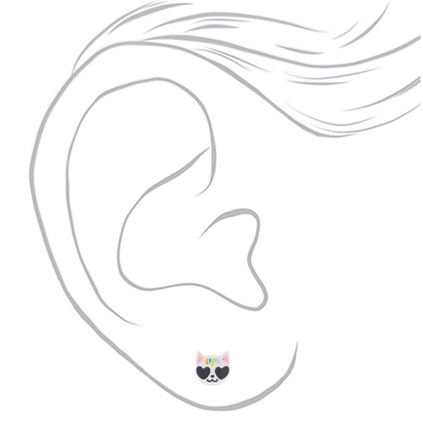 Claire's - cool cat stud earrings - 2