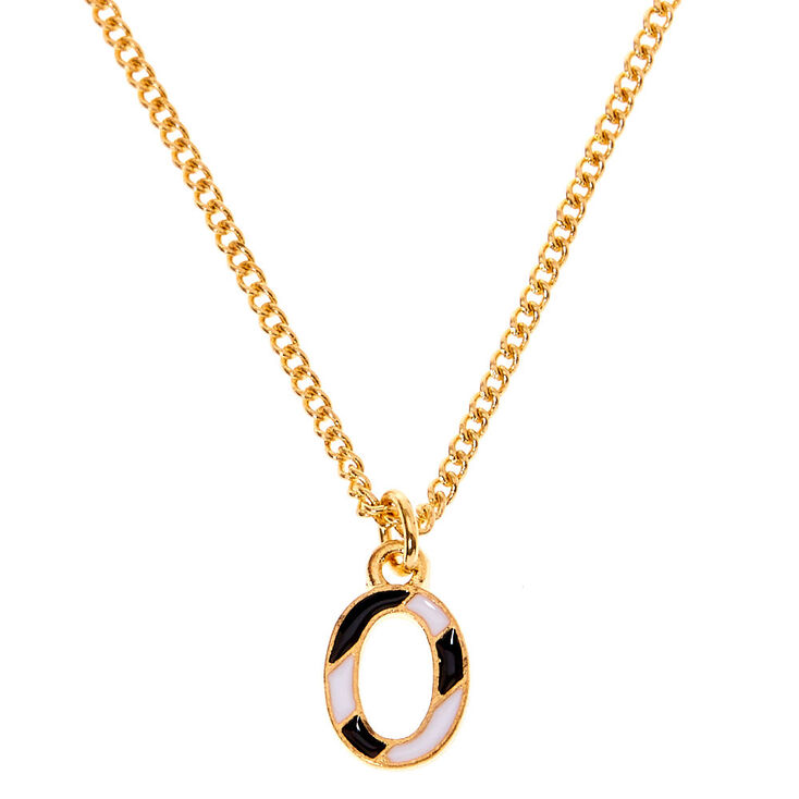 Gold Striped Initial Pendant Necklace - O,