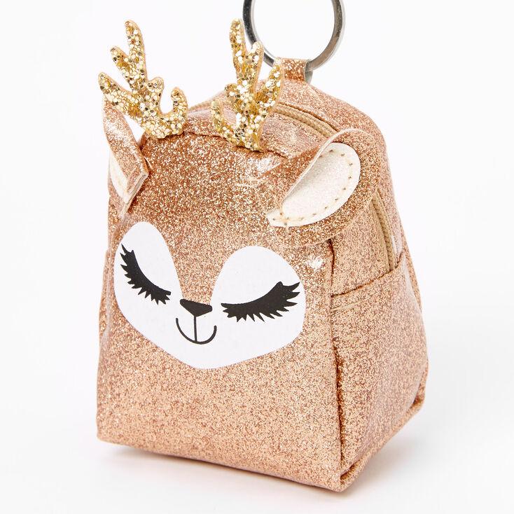 Glitter Deer Mini Backpack Keychain - Brown,