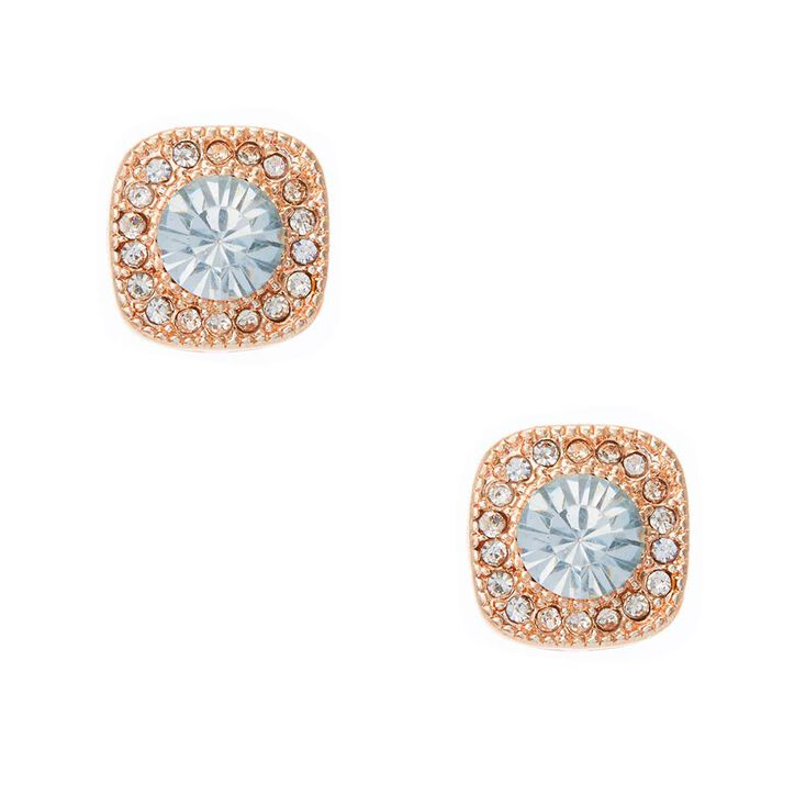 Rose Gold Tone Square Framed Simulated Crystal Stud Earrings