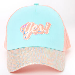 Iridescent Yes! Trucker Hat - Pink,
