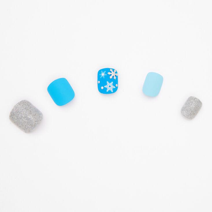 Glitter Snowflakes Square Press On Faux Nail Set - 24 Pack,