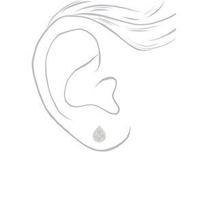 Silver Cubic Zirconia Halo Teardrop Stud Earrings - 6MM,