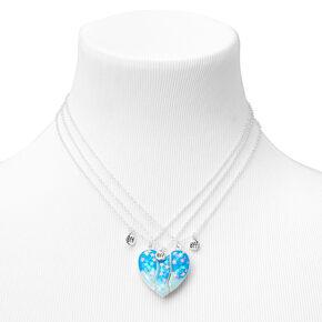 Best Friends Glow In The Dark Blue Confetti Split Heart Necklaces - 3 Pack,