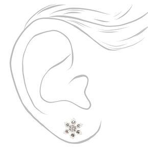 Clous d'oreilles flocon de neige couleur argentée - Blanc,