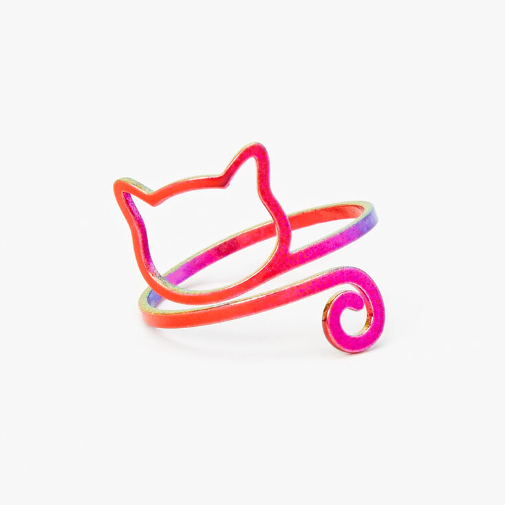 Rainbow Anodized Outline Cat Ring,