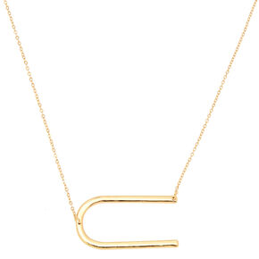 Oversized Initial Pendant Necklace - U,