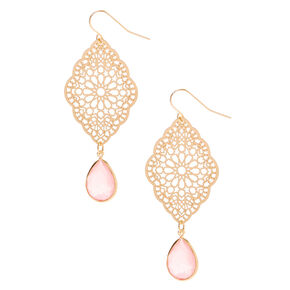 "Gold 2.5"" Filigree Stone Drop Earrings - Pink,"