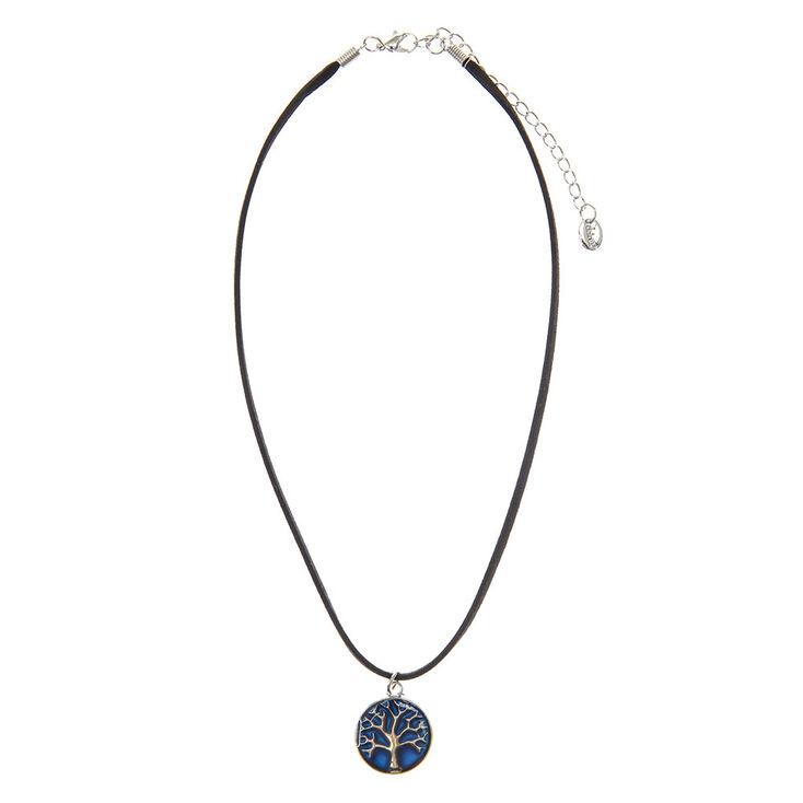 Mood Stone Tree Pendant Cord Necklace,