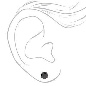 Black Titanium Cubic Zirconia Round Stud Earrings - 6MM,
