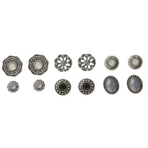 Crystal Flower Button Stud Earring Set,
