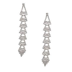 """Silver Rhinestone 3.5"""" Linear Chandelier Drop Earrings,"""