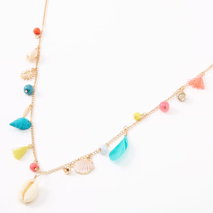 Gold Beach Babe Long Charm Necklace,