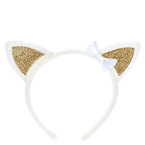 Claire's Club Cat Ears Headband - White,