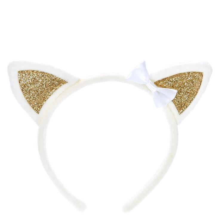 Claire's Club Cat Ears Headband - White,