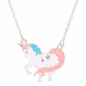 Pastel Glitter Unicorn Pendant Necklace,