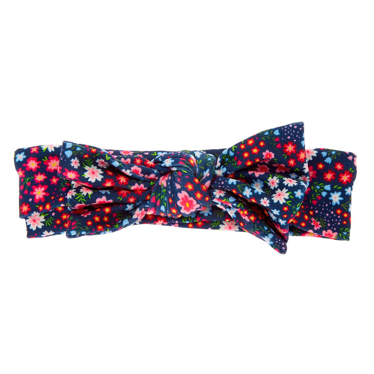 Claire's Club Floral Knotted Bow Headwrap - Navy,