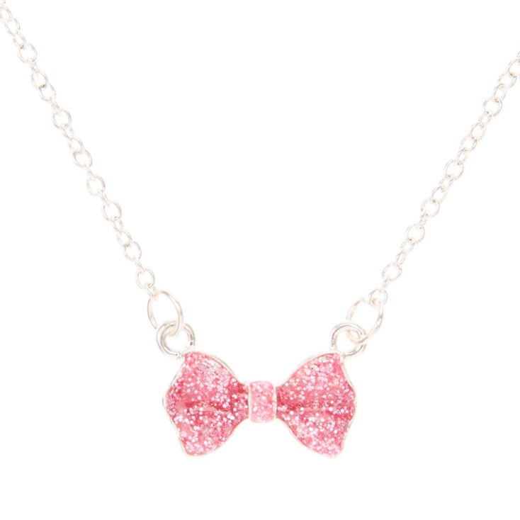 Kids pink glitter bow necklace claires us kids pink glitter bow necklace aloadofball Images