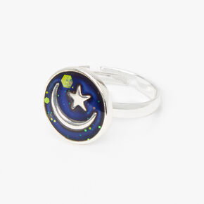 Silver Moon and Star Adjustable Mood Ring,