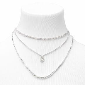 Silver Rhinestone Multi Strand Chain Necklace,