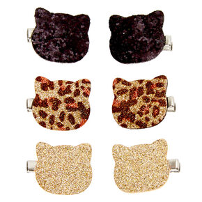 Lot de 6 barrettes chat à paillettes du Club Claire's,