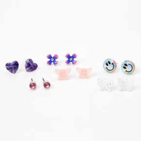 Silver Happiness Stud Earrings - 6 Pack,
