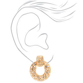 "Gold 1"" Crystal Pearl Circle Door Knocker Drop Earrings,"