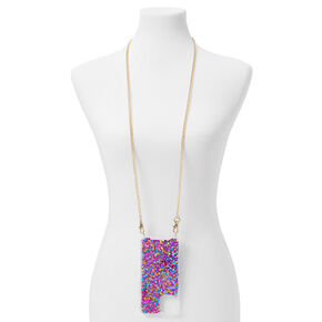 Magenta Glitter Phone Case With Chain - Fits iPhone 12/12 Pro,