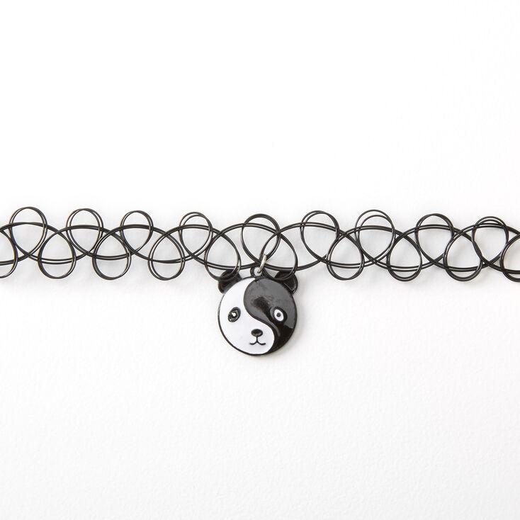 Panda Yin Yang Tattoo Choker Necklace - Black,