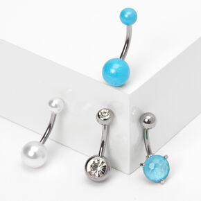 Silver 14G Stone Pearl Belly Rings - Blue, 4 Pack,