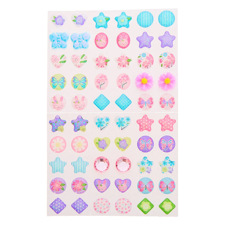 Claire's Club Bright Floral Stick On Earrings - 30 Pack,