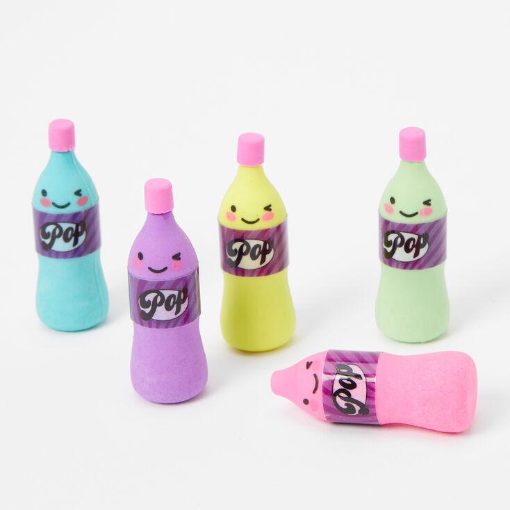 Rainbow Soda Pop Bottle Erasers - 5 Pack,
