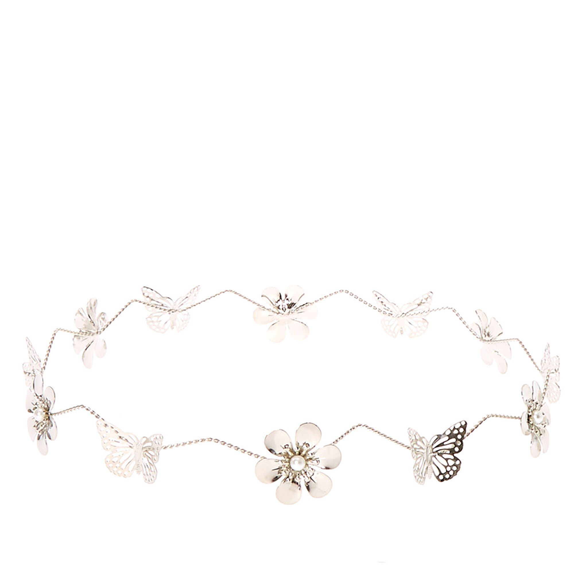Silver flower and butterfly flower crown claires us silver flower and butterfly flower crown izmirmasajfo Image collections