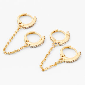 Gold Embellished Connector Chain Huggie Hoop Earrings,