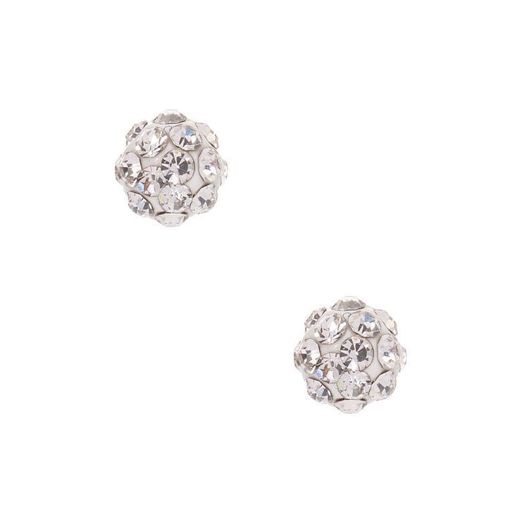 Silver Titanium 5MM Fireball Stud Earrings - White,