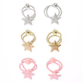 Claire's Club 6 Pack Glitter Star Hair Bobbles,
