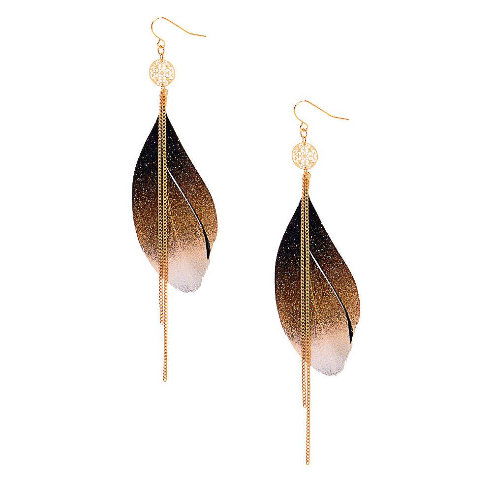 Boucles d/'Oreilles plumes noires  chaines dorées et noires top tendance