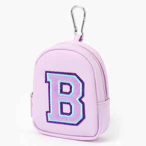 Purple Varsity Initial Mini Backpack Keychain - B,