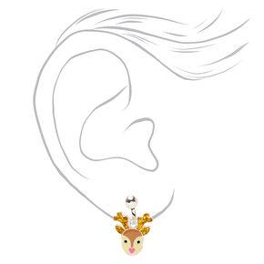 Silver Reindeer Clip On Drop Earrings - Brown,