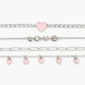 Silver Rhinestone Heart Chain Bracelets - 4 Pack,