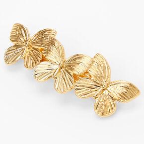 Barrette à cheveux triple papillon couleur dorée,