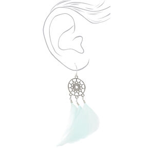 "Silver 3"" Feather Dreamcatcher Drop Earrings - Mint,"