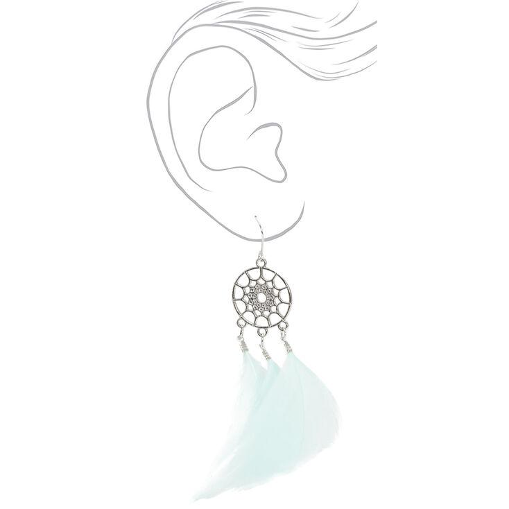 """Silver 3"""" Feather Dreamcatcher Drop Earrings - Mint,"""
