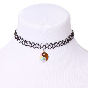 Mood Yin Yang Glitter Pastel Tattoo Choker Necklace,